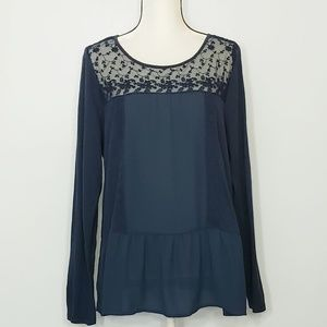 LC LAUREN CONRAD embroidered floral lace top